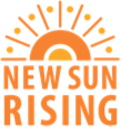 """Orange words in the shape of a rising sun, spelling out """"New Sun Rising""""."""